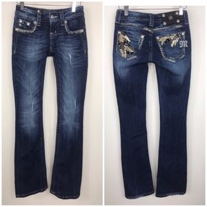 Miss Me bootcut embellished distressed Size 24